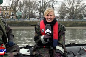 Royal Marines on the Thames during the University Boat Race