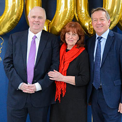 Barry and Margaret Mizen with Alan Curbishley patron of the Axis foundation and gold balloons